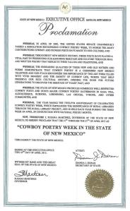 Proclamation from Gov. Susana Martinez, State of New Mexico